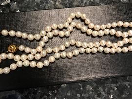 """36"""" Pearl necklace with 14k gold clasp"""