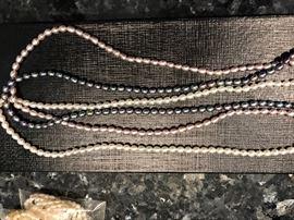 """3 strand pearl necklace- 17""""-multi color"""