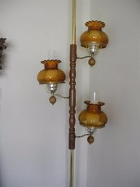 Amber glass pole lamp