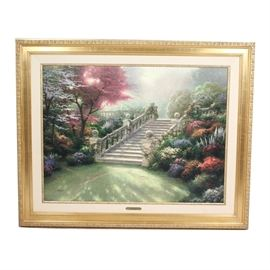 "Thomas Kinkade Limited Edition Oil on Canvas ""Stairway To Paradise"": A Thomas Kinkade (1958-2012) limited edition oil on canvas painting Stairway to Paradise. The painting portrays a majestic flight of stairs encased by blossoming trees and flowers in delicate light. The piece comes with a plaque at its central lower margin that states Stairway To Paradise Visions of Paradise I Thomas Kinkade and was hand crafted at the Media Arts Group Inc. It is numbered 3654/3950 – I to the lower left and signed to the lower right. The canvas is professionally matted and set in an gold frame with a floral accented border. Also included is the Ownership Portfolio and the Certificate of Limitation & Authenticity attached to the verso."