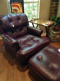 Leather chair & ottoman to match sofa