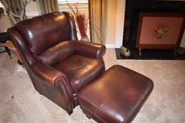 Pair of Leather wingback chairs and one ottoman