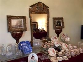 italian mirror, Royal Doulton China, Antique Spode, Portrait Plate, Prints in ornate Frames