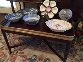 Gallery Top Table, Oyster Plate, Antique Porcelain