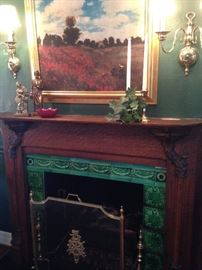 Brass firescreen and other accessories; framed art