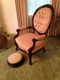 Antique parlor chair and foot stool