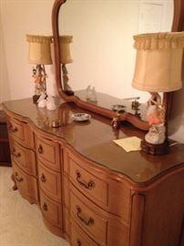 Triple dresser; boy & girl statue lamps