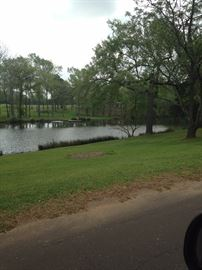 Private lake in front of the home