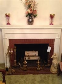 Pair of pink lusters; lovely brass fireplace accessories