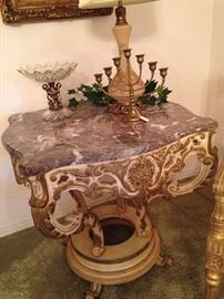 This marble planter table was purchased from a factory in Milano, Italy.