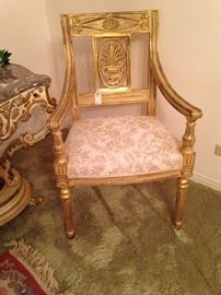 Formal, ornate upholstered antique chair