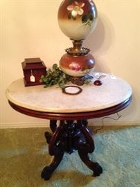 "Antique marble top table; ""Gone with the Wind"" lamp"