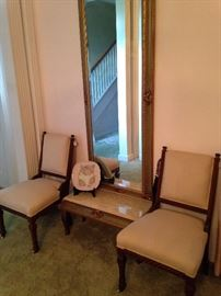 Entry marble top table with tall mirror; matching antique chairs