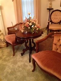 Parlor chairs and antique table