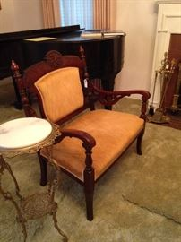 Antique settee and plant stand (baby grand piano - not included in the sale)