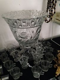 Elegant punch bowl and punch cups