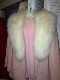 Vintage pink sweater with fox collar