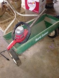Fertilizer spreader; trimmer