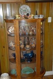 "Awesome ""Lucky China"" Tea Service and associated pieces. Dragons rule in this curved class oak curio!"