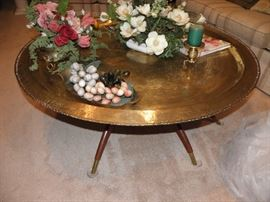 Huge brass coffee table with teak legs