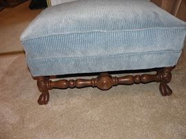 Ball and paw antique footstool