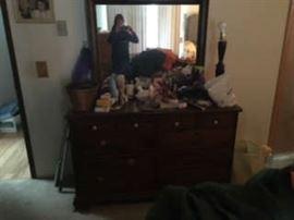Mirrored dark wood dresser