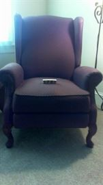 Chair, wingback recliner, burgundy