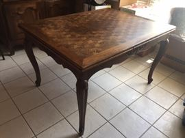 French oak refectory table with pull out leaves--seat 10!