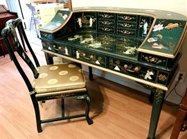 Quality carved oriental desk with matching chair
