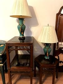 Oriental tables with lamps