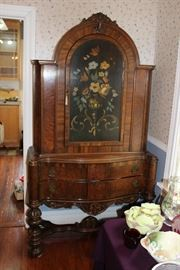 German hand painted china cabinet