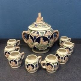 German Punch Bowl with Steins