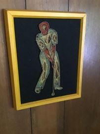 Intricate string art golfer
