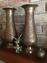 Old brass vases