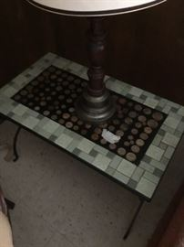1960s side table with penny inlay