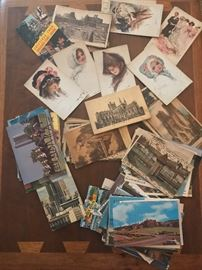 So many different postcards from travel and ladies portraits