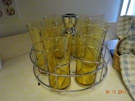 Vintage glassware with serving glass tray