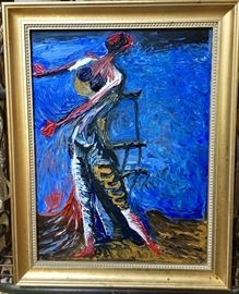 Knife and palette three dimensional oil painting on canvas