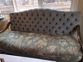 "Pair of Rudolph Valentino Settee's  Antique Original wood camelback shape velvet tufted back & garden chenille seat 76"" long x 46"" High x 251/2"" deep."
