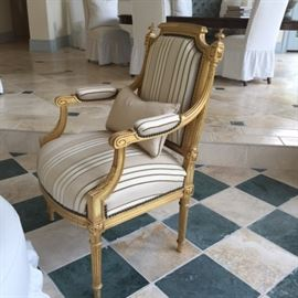 19th Century French Arm chair gold gilt silk upholstery 3 pc. set