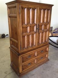 Solid Oak Armoire with black iron hardware from Bayles Furniture- Convert to TV cabinet or keep for clothing. MUST GO!