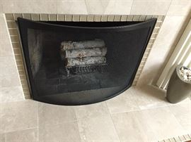 Contemporary Curved Fireplace Screen in Blackened Steel from Design Within Reach. Excellent Condition Original price $400.