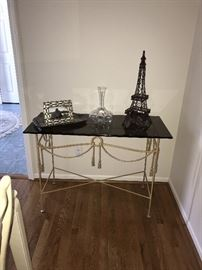 METAL TASSEL TABLE WITH SMOKEY GLASS TOP