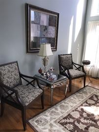 UPHOLSTERED CHAIRS AND MIRRORED TABLE WITH DRAWER