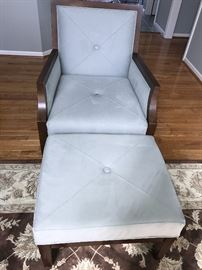 LIGHT BLUE MICROFIBER AND WOOD CHAIR WITH OTTOMAN