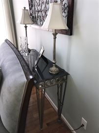 SOFA TABLE WITH TALL SLIM LAMPS