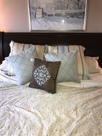 BEDROOM SET-KING SIDE CHERRY WOOD SLAY BED AND MATTRESS WITH BOXSPRING, NIGHTSTANDS WITH GRANITE TOPS, DRESSER WITH MIRROR CHERRY WOOD AND GRANITE TOP, TALL CHEST OF DRAWERS