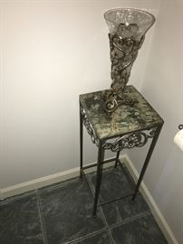 SMALL MARBLETOP METAL TABLE AND VASE