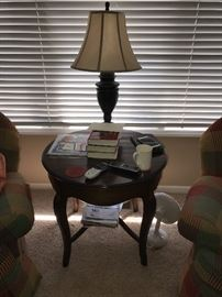 WOODEN ROUCH SIDE TABLE WITH LAMP