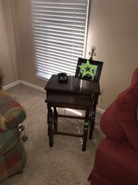 TWO WOODEN NESTING TABLES